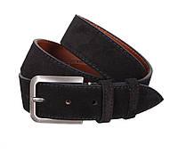 Стильный замшевый ремень мужской черный 4 см Leather Collection ZM-547633