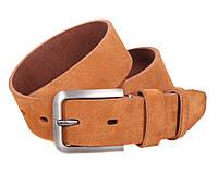 Мужской замшевый ремень светло-коричневый 4 см Leather Collection ZM-547632