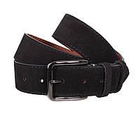 Высококачественный замшевый ремень мужской черный 4 см Leather Collection ZM-547634