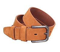 Эксклюзивный мужской замшевый ремень светло-коричневый 4 см Leather Collection ZM-547635