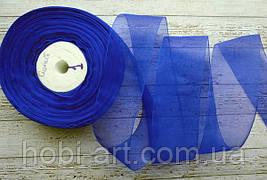 Стрічка органза 40 мм  № 01 синя