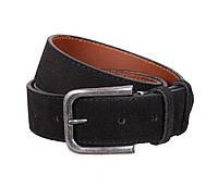 Мужской замшевый ремень под джинсы черный 4 см Leather Collection ZM-547636