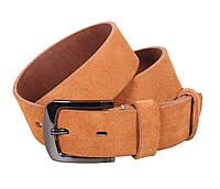 Повседневный мужской замшевый ремень светло-коричневый 4 см Leather Collection ZM-5476311