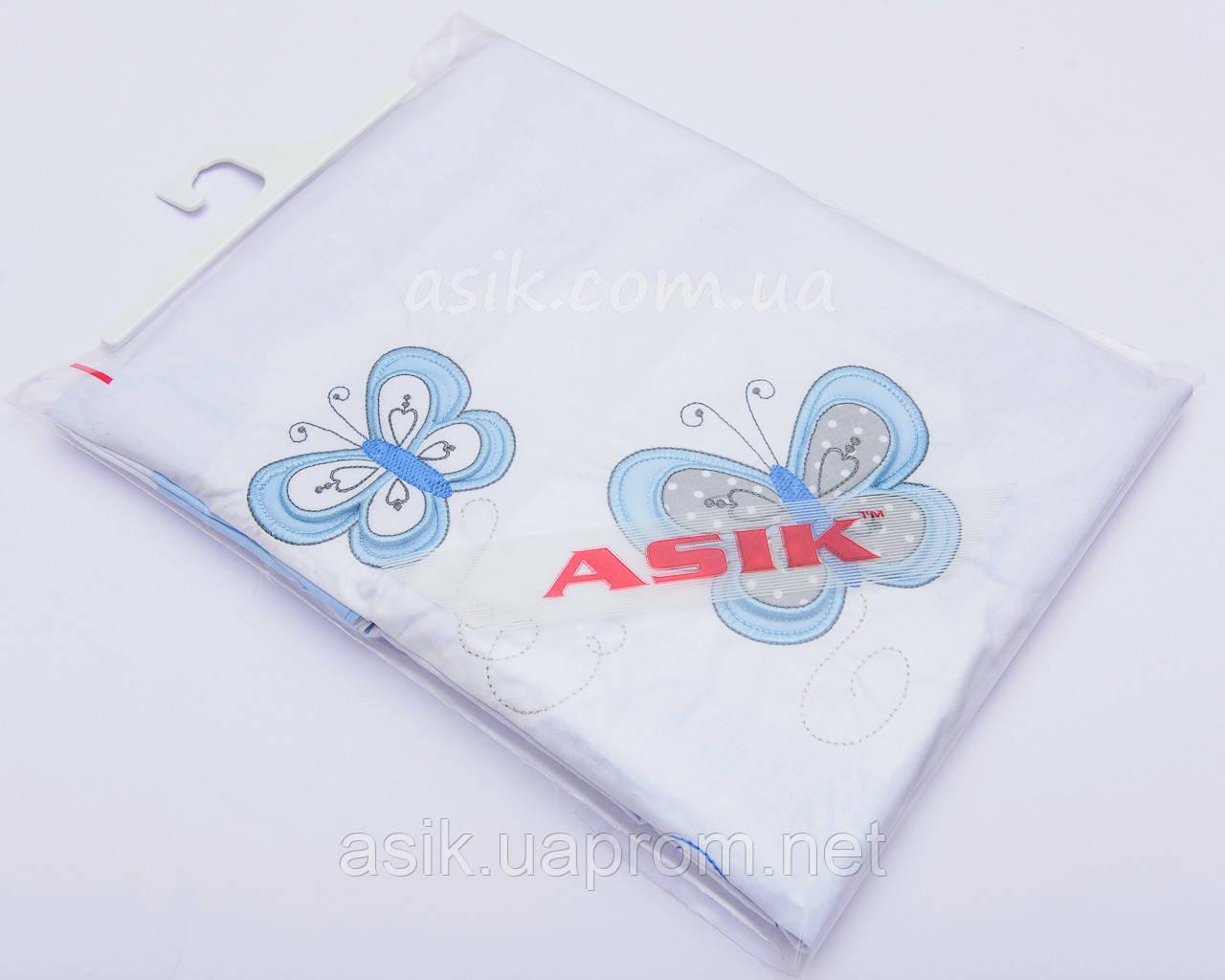 Шикарная детская сменная постель голубого цвета с вышивкой (летающие бабочки).