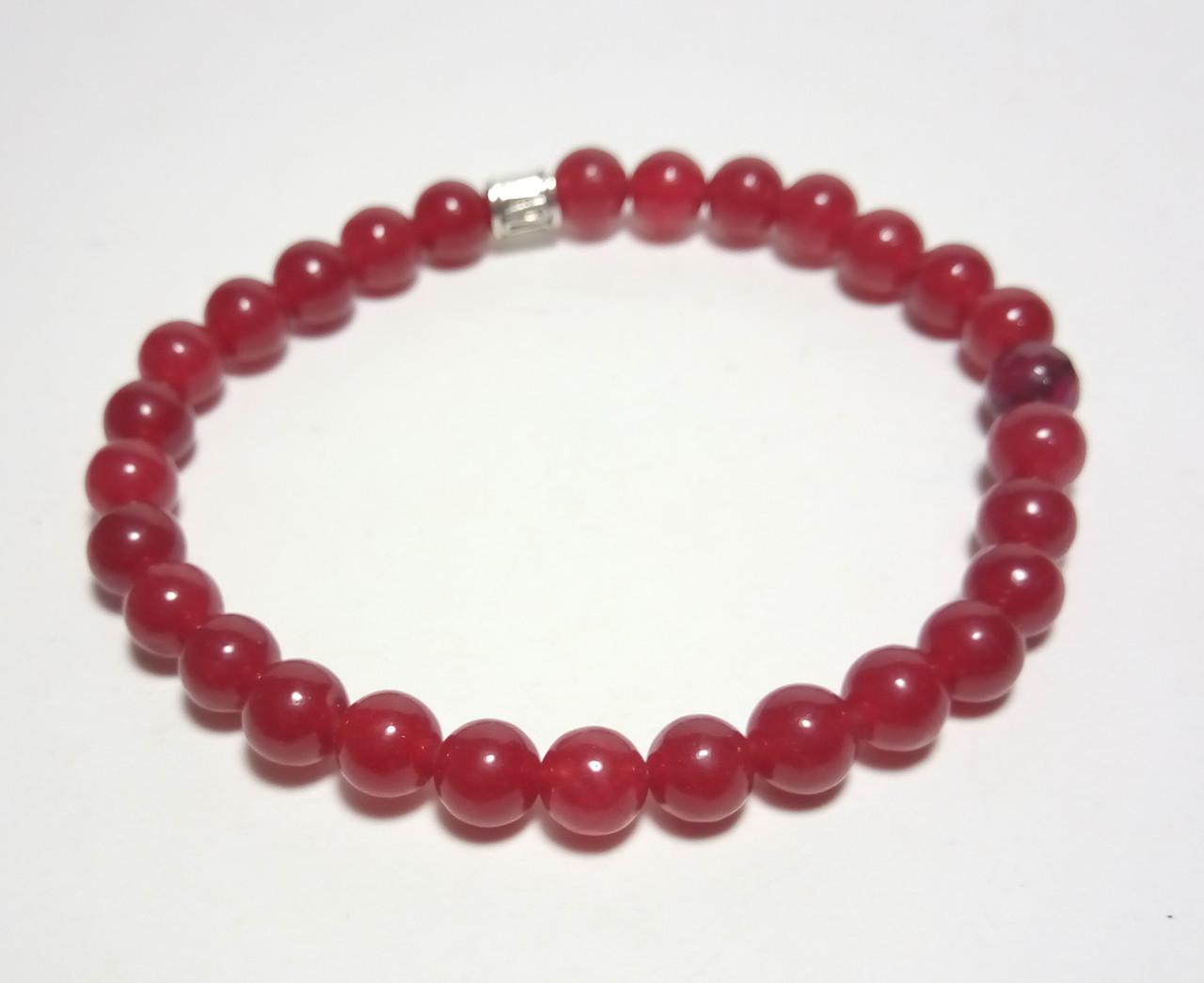 Браслет Сердолик, натуральный камень, цвет бордо и его оттенки, тм Satori \ Sb - 0094