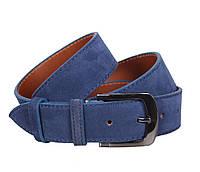 Изысканный мужской джинсовый ремень из натуральной замши синий 4 см Leather Collection ZM-6310