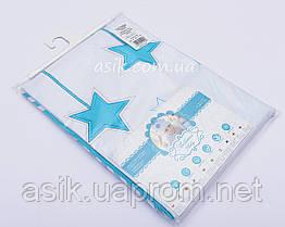 Детская сменная постель бирюзового цвета с вышивкой (звёздочки)