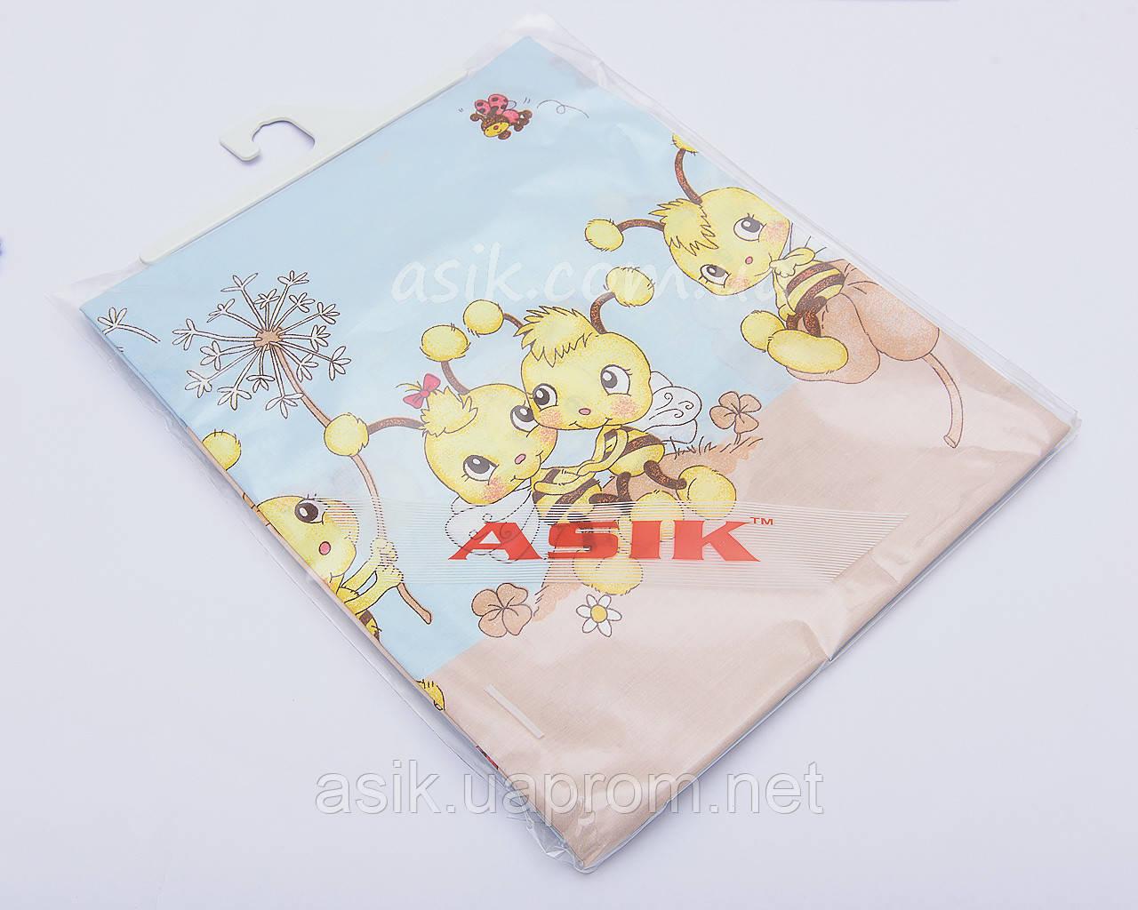 Сменная постель «Пчелки с одуванчиками» голубого цвета, № 103
