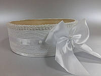 Свадебное сито с кружевом и бантом