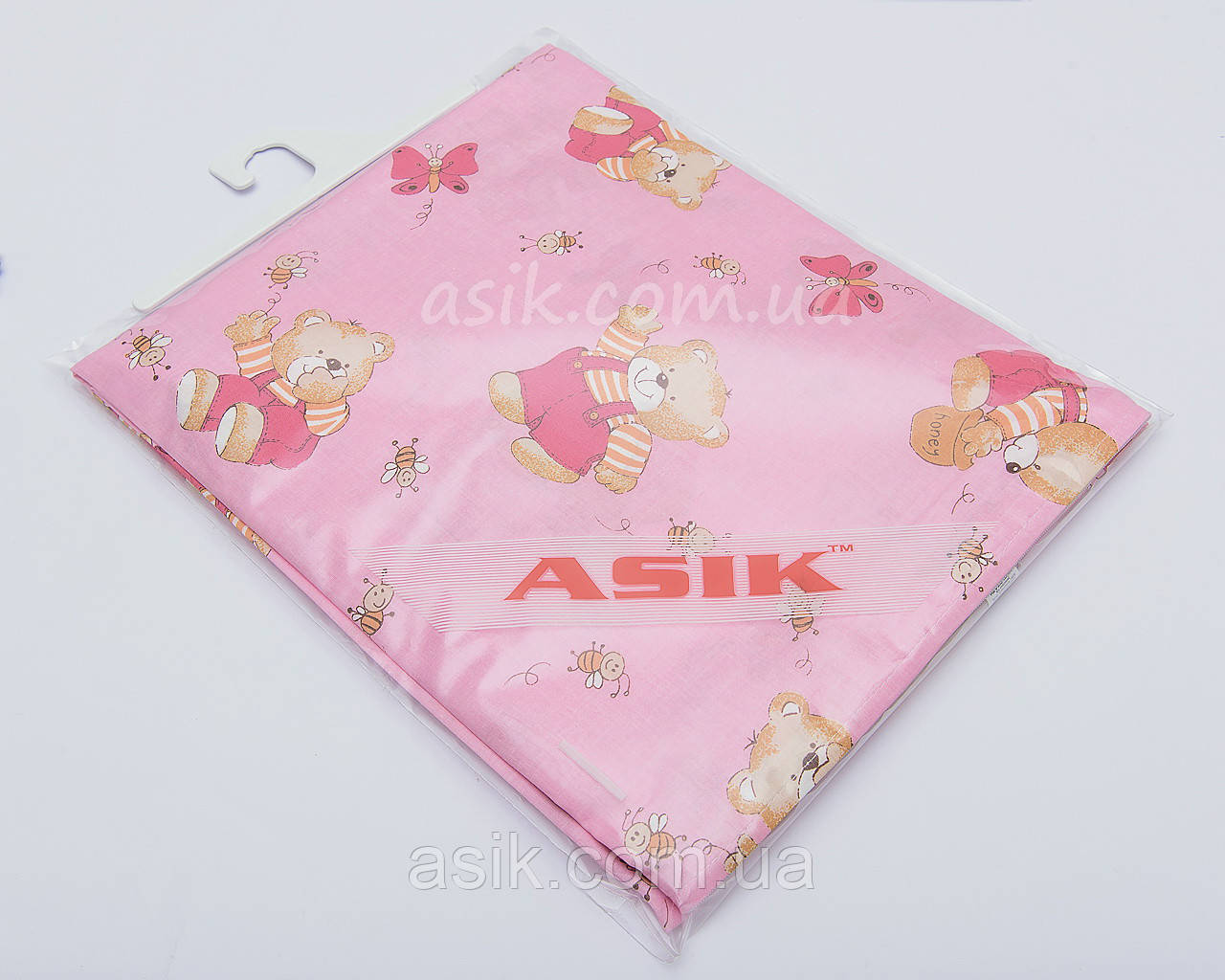 Змінна постіль «Ведмедики з медом» рожевого кольору № 84