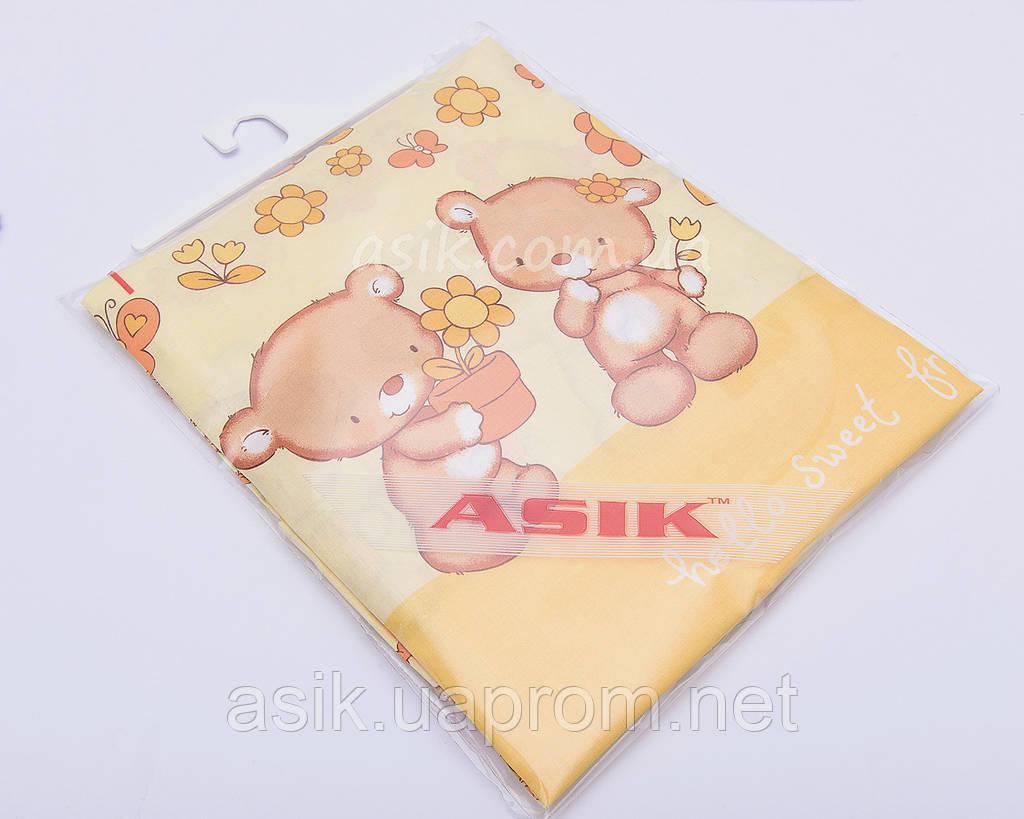 Сменная детская постель Asik Мишка с цветочком желтого цвета 3 предмета (3-170)