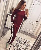 Женский спортивный костюм из стеганного трикотажа с прямыми штанами 3305168