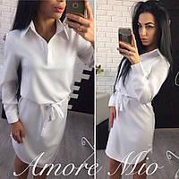 Белое платье-рубашка однотонное под пояс 73PL908