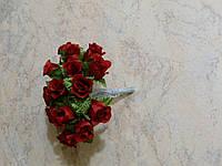 Букет розочек на проволоке темно-красный 10 шт
