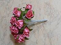 Букет розочек на проволоке розовый 10 шт