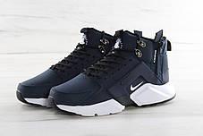 Кроссовки мужские Найк Nike Huarache X Acronym City MID Leather Navy/White. ТОП Реплика ААА класса., фото 3