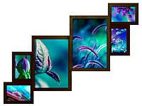 Деревянная мультирамка на 6 фотографий (80*60 см) ФР0006