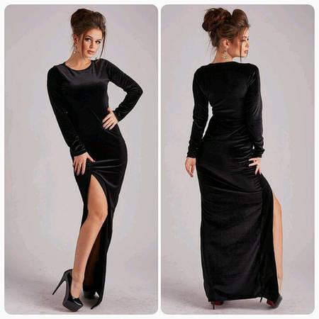 Женское черное вечернее платье в пол