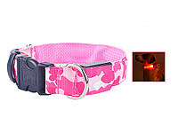 Светодиодный ошейник для животных (собака, кошка)  Розовый