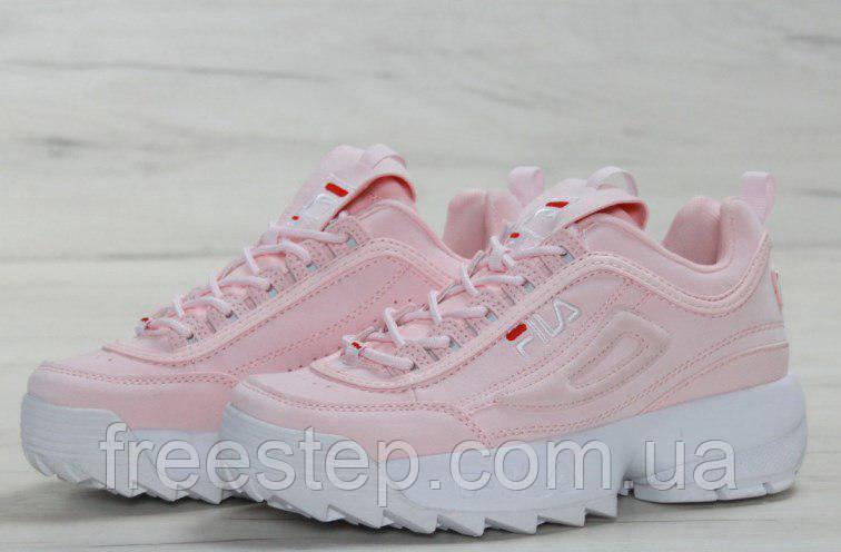 Женские кроссовки в стиле Fila Disruptor 2 розовые кожа   продажа ... 575454a8ecb36