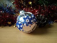 Елочный шар ручной работы из бисера 5 см диаметр (Игрушка на елку в виде шара, новогодняя игрушка, на подарок) Серебряный
