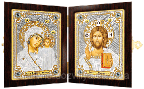 """Набор для вышивания бисером православный складень """"Богородица Казанская и Христос Спаситель"""""""