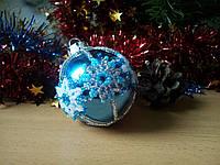 Елочный шар ручной работы из бисера 5 см диаметр (Игрушка на елку в виде шара, новогодняя игрушка, на подарок) Голубой