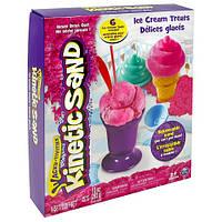 Набор песка для детского творчества - KINETIC SAND ICE CREAM (розовый, формочки, 283 г) (71417-1)