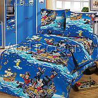 Подростковое полуторное постельное белье с простыней на резинке 90*200*25 Морские пираты, бязь ГОСТ