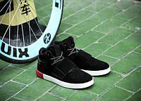 Модные черные кроссовки мужские липучка + шнуровка