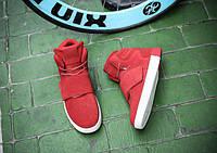 Модные красные кроссовки мужские липучка + шнуровка