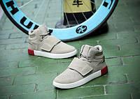 Модные бежевые кроссовки мужские липучка + шнуровка