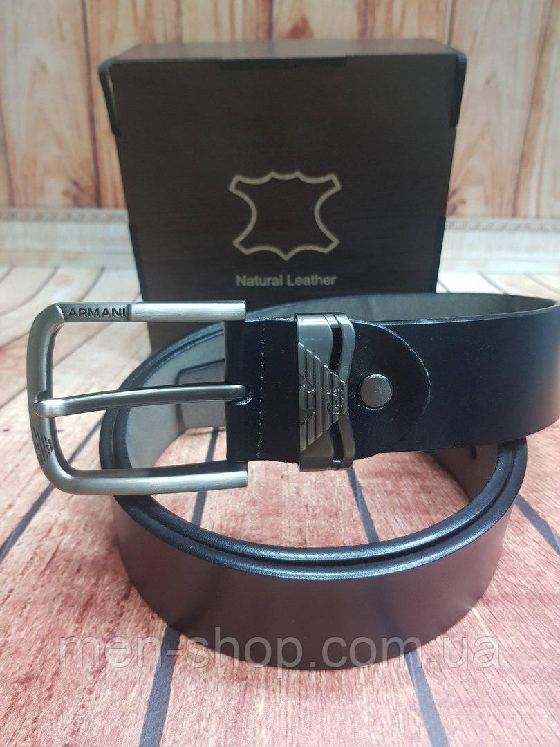 Мужской кожаный ремень в стиле Armani в коробке