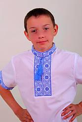 """Вышиванка для мальчика """"Федор"""" (синяя вышивка, короткий рукав)"""
