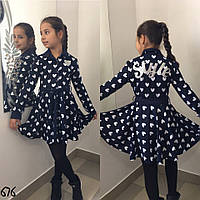 Платье детское трикотаж в сердечко STYLE