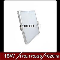 LED Светильник ХРОМ квадрат SLIM 18W 4000K IP20