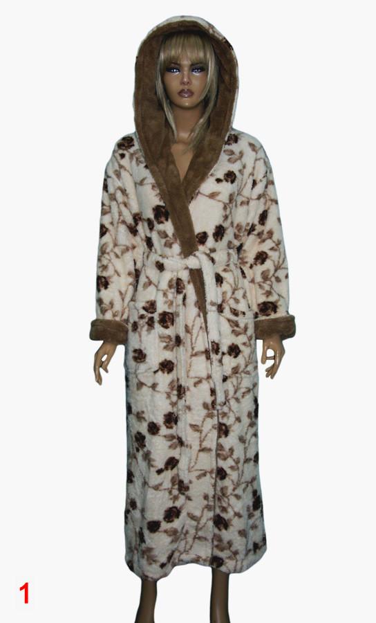 c25ab702b19a Халат женский пушистый (Софт) цветной длинный с капюшоном фирмы MASSIMO  MONELLI 2004 S-