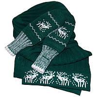 """Утепленная вязаная шапка - носок с помпоном, длинный шарф и варежки, из коллекции """"Зимняя сказка"""""""