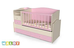 """Детская кровать -трансформер """"Киндер"""", (крем - розовый)"""