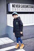 Длинный натуральный пуховик для мальчика. Размеры 120-160., фото 1