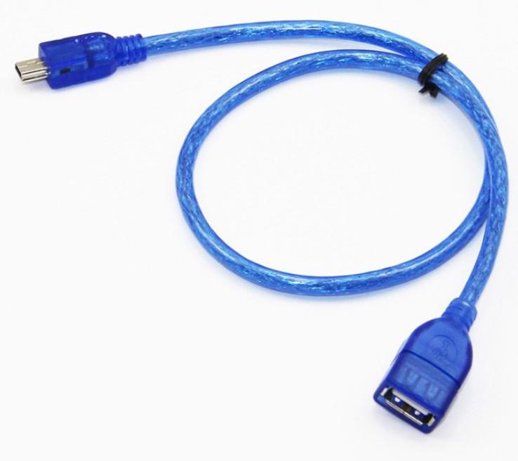 Кабель OTG Cable USB AF-mini USB силикон 0,3м