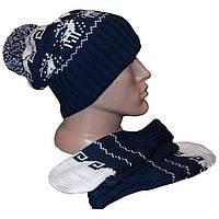 """Вязаная зимняя шапка - носок с помпоном и варежки из коллекции """"Зимняя сказка"""", c норвежскими орнаментами"""