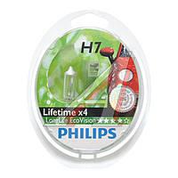 Лампа накаливания H7 12V 55W  PX26d LongerLife Ecovision 2шт (пр-во Philips)