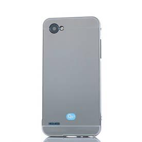 Чехол бампер для LG Q6 M700 металлический со съемной зеркальной крышкой, серый