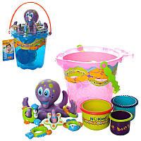 Игра для купания осьминог кольцеброс K-05 (игрушка для ванной): 5 колец в комплекте, 3 ведерка
