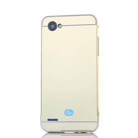 Чехол бампер для LG Q6 M700 металлический со съемной зеркальной крышкой, золотистый