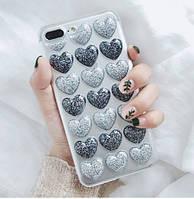 Чехол силиконовый для iPhone 6s Plus с 3D сердечками