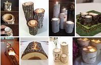 Декоративный подсвечник из дерева