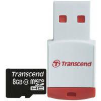 Карта памяти TRANSCEND microSDHC 8 GB Class 10 с RDP3 кардридером