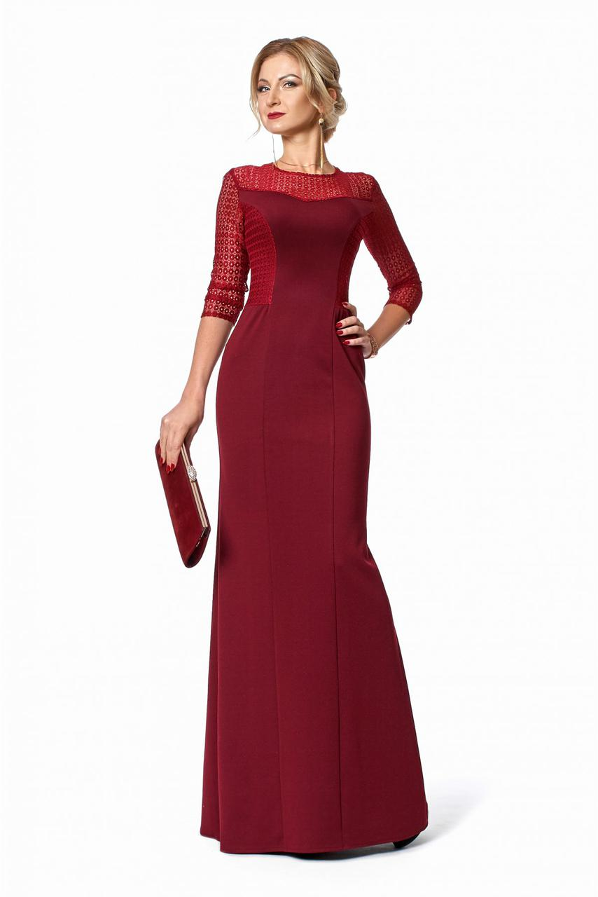 Длинное нарядное платье макси с гипюровым верхом